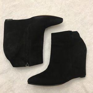 Cole Haan Suede Ankle Zip Wedge Booties. Size 7.5